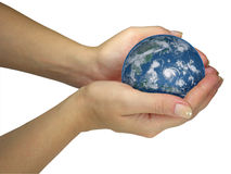 Human lady hands holding earth globe isolated Royalty Free Stock Photography
