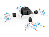 Human with laptop with  big server NetWork firewall. 3D Image Stock Photography