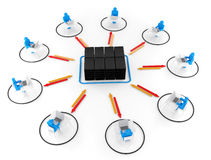 Human and laptop with server NetWork. 3D Image Royalty Free Stock Photo
