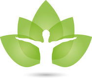 Human and leaves, naturopath and fitness logo Royalty Free Stock Photography