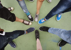 Human Leg Assemble Unite Togetherness Aerial View Concept. Human Leg Assemble Unite Togetherness Aerial View stock image