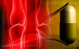 Human leg bone, capsule and forceps Royalty Free Stock Image