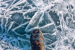 Human legs in hiking boot in ice crampons on the texture Baikal Royalty Free Stock Photos