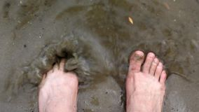Human legs splash in water. River, lake. testing how much water is cold or hot stock footage