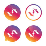Human life insurance sign icon. Hands protect. Stock Images