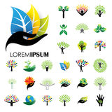 Human life logo icons of abstract people tree vectors Stock Photo