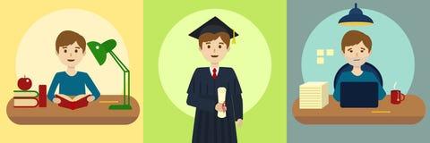 Human life path education and work cartoon vector. Human life path education at school and work at office. Cartoon colorful vector illustration Stock Image