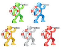 Lifeguard. Human and life preserver. Lifeguard searching with spyglass. Theme support. Group of people in different colors. Vector Illustration Royalty Free Stock Image