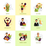 Human life stages icons set flat Royalty Free Stock Photography
