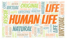 Human Life word cloud. Wordcloud made with text only vector illustration