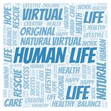 Human Life word cloud. Wordcloud made with text only royalty free illustration
