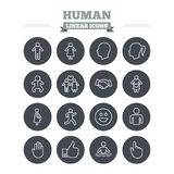 Human linear icons set. Thin outline signs. Vector vector illustration
