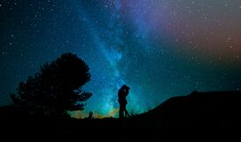Human, Lovers, Night Sky Stock Photos