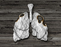 Human Lung Cancer Concept. Or illness and losing human lungs health care symbol as a decline in respiratory function caused by a tumor disease as the organ made Stock Photography