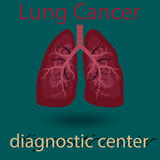 Human lung emblem. Medicine, clinic symbol design, cancer diagnostics center,  flat design Royalty Free Stock Photography