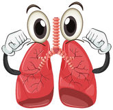 Human lung with face and arms Stock Photos