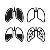 Human Lung Icons Set Royalty Free Stock Images