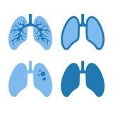 Human Lung Icons Set Stock Photography