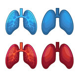 Human Lung Icons Set Stock Photography