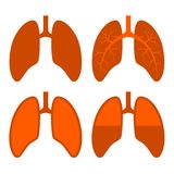 Human Lung Icons Set Royalty Free Stock Image