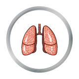 Human lungs icon in cartoon style isolated on white background. Human organs symbol stock vector illustration. Royalty Free Stock Photo