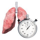 Human lungs with stopwatch. First aid and treatment of lungs concept, 3D rendering. Isolated on white background stock illustration