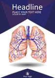 Human lungs with trachea, bronchus, bronchi, carina, in low poly Stock Image