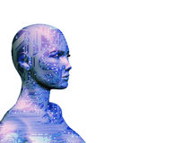 The Human Machine Blue. A rendering of a woman with a circuit board texture for skin vector illustration