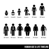Human Male Aging & Getting Old Timeline Infographic Pictogram Icon Style Royalty Free Stock Photos