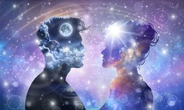 Free Human Male, Female Bodies, Universe Inspiration Enlightenment Unity Consciousness, Yin Yang, Twin Flames, Cosmic Lovers Stock Photography - 181505602