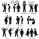 Human Man Character Behaviour Cliparts Icons. A set of human pictogram representing human behaviour such as boastful, liar, self satisfaction, exaggerate, shy vector illustration