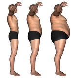 Human man fat and slim concept isolated Stock Photography