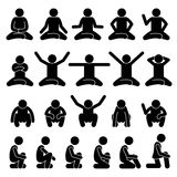 Human Man People Sitting and Squatting on the Floor Poses Postures Stick Figure Stickman Pictogram Icons Royalty Free Stock Photography