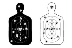 Human man, set shooting range target shot of bullet holes. vector illustration Royalty Free Stock Images