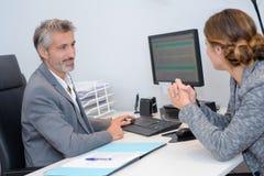 Human manager choosing new employee. Human manager choosing a new employee royalty free stock photography