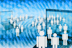 Human marketing network. The human marketing network with laptop Royalty Free Stock Image