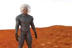 Human on Mars look for water Royalty Free Stock Image