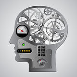Human mechanical metallic head half face with brain gears and ot Stock Images