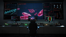 Human medical care center, main control room, Blood cells.Human cardiovascular system, Futuristic medical application. royalty free illustration