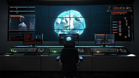 Human medical care center, main control room, connect digital lines in digital display interface, grow future artificial intellige stock illustration