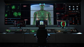 Human medical care center, main control room, Female Human body scanning lymphatic system in digital display dashboard. stock video footage