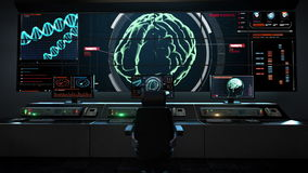 Human medical care center, main control room, Scanning Brain in digital display dashboard. stock footage