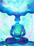 Human meditate mind mental health yoga chakra spiritual healing watercolor painting illustration