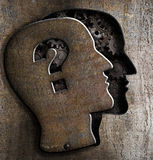 Human metal brain model with question mark. Human brain open with question mark on metal lid Stock Photo