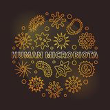 Human microbiota round vector golden outline illustration. Human microbiota round vector golden illustration in linear style on dark background vector illustration