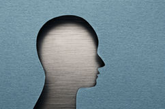 Human mind. Human head cardboard cutout with copy space Stock Image