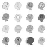Human mind head icons set monochrome Royalty Free Stock Images