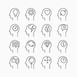 Human mind icons, thin line style, flat design Stock Images
