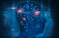 Human mind. Illustration of futuristic brain Stock Images