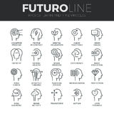 Human Mind Process Futuro Line Icons Set Royalty Free Stock Photography